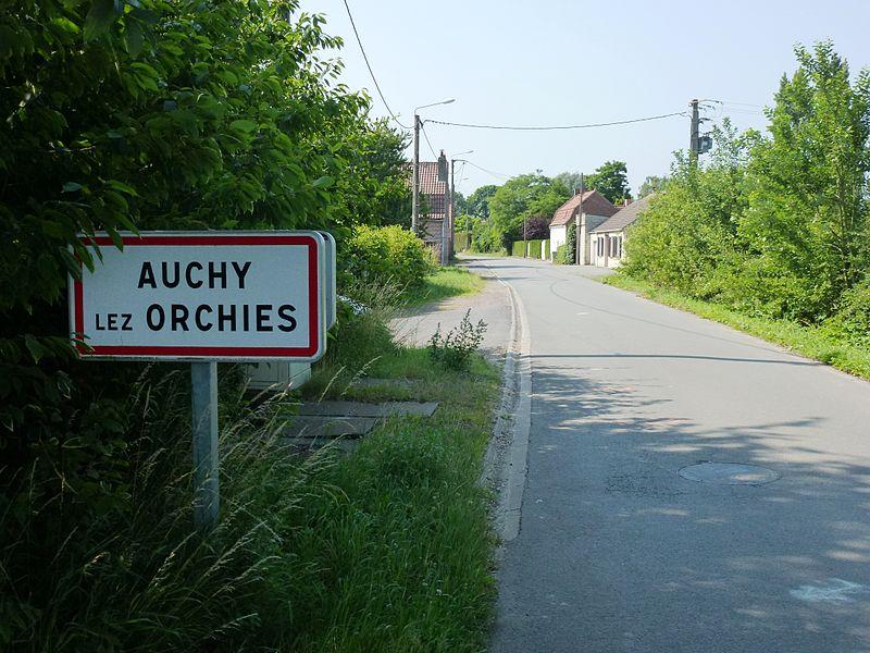 Auchy-lez-Orchies (Nord, Fr) city limit sign