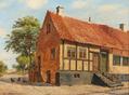 August Fischer - Et gammelt bindingsværkshus i Ebeltoft - 1919.png