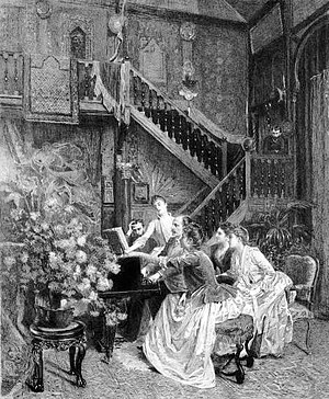 "Manon - ""Gathering around a score"" by Charles Baude (1853–1935) shows Massenet rehearsing Manon with Sibyl Sanderson in Pierre Loti's drawing room. It was used as the cover of Le Théâtre in July 1889."