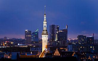 Tallinn Town Hall - The skyscrapers of Tallinn on the background of Tallinn's town hall