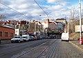 Bělehradská, železniční most, pohled k Nuselským schodům a Závišově ulici.jpg