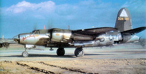 126th Air Refueling Wing - Martin B-26G-1-MA Marauder AAF Serial No. 43-34181 of the 495th Bomb Squadron preparing to take off at Stansted Airfield, 1944.