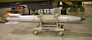 "B61 nuclear bomb - B61 training unit intended for ground crew. It accurately replicates the shape and size of a ""live"" B61 (together with its safety/arming mechanisms) but contains only inert materials"