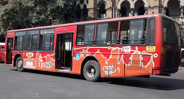 A BEST Tata Starbus running on Fort Pheri 1, parked at CST.