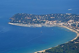 An aerial view of the bay and the harbour of Cavalaire-sur-Mer