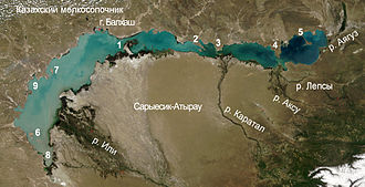 Aksu River (Kazakhstan) - Satellite image of Aksu River delta as it enters Lake Balkhash with the Lepsy River just to the east