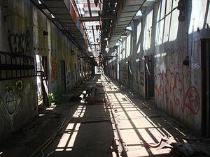 Hingham Naval Ammunition Depot Annex - Image: Ballistite Grain Inhibiting Building main hall