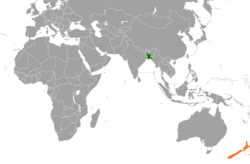 Map indicating locations of Bangladesh and New Zealand