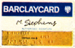 Sample Barclaycard (left), as issued in the UK in the 1960s/70s. Co-branded cards were also issued by affiliates, such as The Co-operative Bank and Yorkshire Bank. The Chargex logo (right) used in Canada.