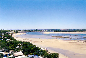 Barwon Heads, Victoria - View of the town and the Barwon River estuary, as pictured from atop the southern head