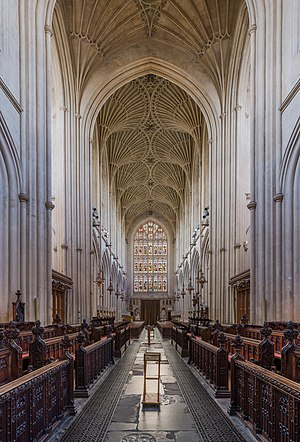 Bath Abbey - Looking west from the choir, showing the fan vaulting of the nave ceiling