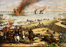 Two ironclad ships firing on each other, with a Union ship burning nearby and soldiers on the shore watching the battle.