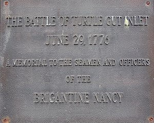 Battle of Turtle Gut Inlet - Image: Battle of Turtle Gut Inlet Plaque