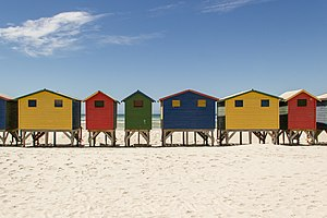 Beach hut - Colourful beach huts at Muizenberg beach in South Africa