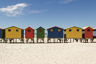 Muizenberg - Colourful beach houses at Muizenberg beach