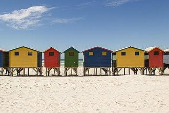 Beach hut - Colourful beach huts at Muizenberg beach in South Africa