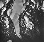 Bear Lake Glaciers, mountain glacier terminus, firn line, and hanging glaciers, August 27, 1963 (GLACIERS 6974).jpg