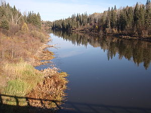 Beaver River (Canada) - The Beaver River north of Green Lake at the Highway 155 bridge crossing (looking downstream)