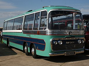 Multi-axle bus - The Bedford VAL twin steer coach, whose extra axle allowed for smaller lighter wheels and a lower floor height