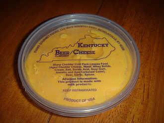 Beer cheese (spread) - A container of beer cheese spread