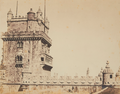 Belém Tower, with an armed guard standing on its bastion (c. 1850-1854).png