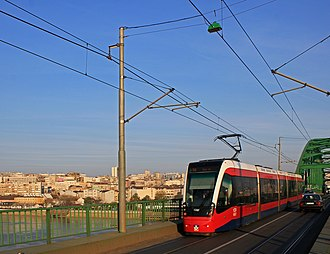 Trams in Belgrade Belgrade. New CAF Tram on The Old Sava Bridge.jpg