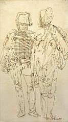 Dwaj huzarzy - szkic II do weduty fantastycznej z dziedzińcem pałacowym