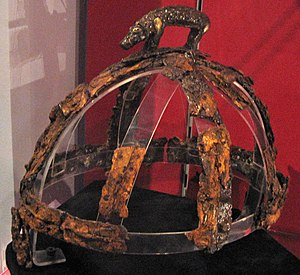 Sutton Hoo helmet - The Benty Grange helmet exhibits the other style of boar motif mentioned in Beowulf