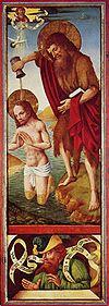 Szene oben: Taufe Christi, Szene unten: Ein Prophet