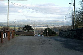 Mourne Mountains - Craigmore Viaduct with the Mournes in the distance, seen from Bessbrook near Newry station.