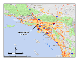 Beverly Hills Oil Field - Location of the Beverly Hills Oil Field in the context of the Los Angeles Basin and Southern California. Other oil fields are shown in gray.
