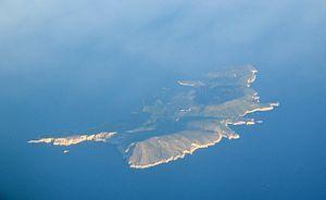 Biševo - Biševo island seen from the airplane.