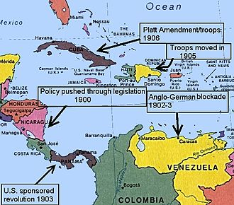 A map of Central America, showing the places affected by Theodore Roosevelt's Big Stick policy BigStickinLAmerica.jpg