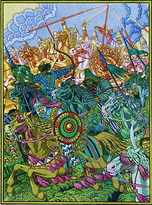 Cumans - Ivan Bilibin's illustration to The Tale of Igor's Campaign shows the Cumans fighting against the Rus'.
