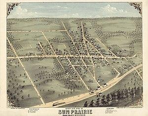Sun Prairie, Wisconsin - Bird's eye view of Sun Prairie, c. 1875