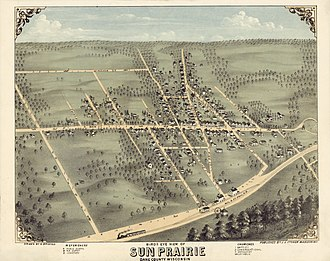 Sun Prairie, Wisconsin - Bird's eye view of Sun Prairie, c. 1875