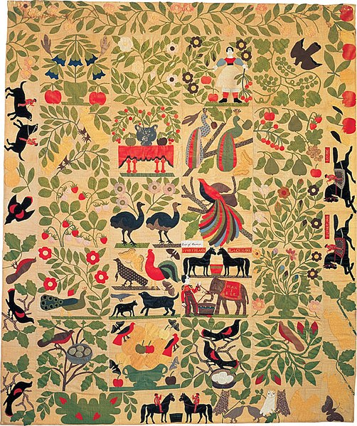 File:Bird of Paradise Quilt Top, Artist unidentified.jpg