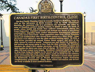 Ferguson Avenue (Hamilton, Ontario) - Canada's first Birth Control Clinic, plaque at Ferguson Station