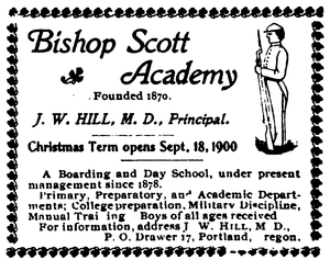 Bishop Scott Academy - A 1900 newspaper advertisement for the Academy