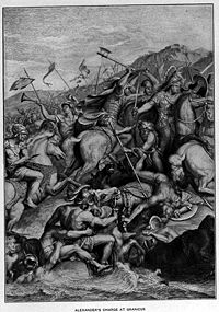 Black Cleitus saves Alexander in the charge at the Granicus (19th century adaptation from the painting by Charles le Brun).jpg