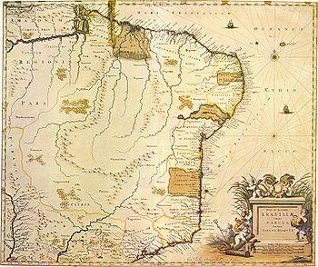 Mapa de Joan Blaeu de 1640 j� com novas denomina��o de v�rias capitanias.