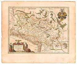 Map of Silesia by Martin Helwig, native of Nysa, published in 1645 in Atlas novus of Willem and Joan Blaeu. The Duchy of Nysa (here depicted as DVCATUS GROTKAVIENSIS) extends to Jeseník (Freiwaldau) in the south and Osoblaha (Hotzenplotz) in the east.
