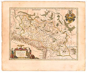 Duchy of Nysa - Map of Silesia by Martin Helwig, native of Nysa, published in 1645 in Atlas novus of Willem and Joan Blaeu. The Duchy of Nysa (here depicted as DVCATUS GROTKAVIENSIS) extends to Jeseník (Freiwaldau) in the south and Osoblaha (Hotzenplotz) in the east.
