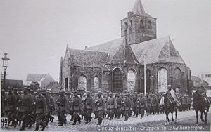 German occupation of Belgium during World War I - German troops marching through Blankenberge in 1914