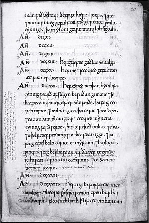 John Joscelyn - A page from the D manuscript of the Anglo-Saxon Chronicle, which was annotated by Joscelyn