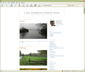 Photoblog - Screenshot of a typical photo blog
