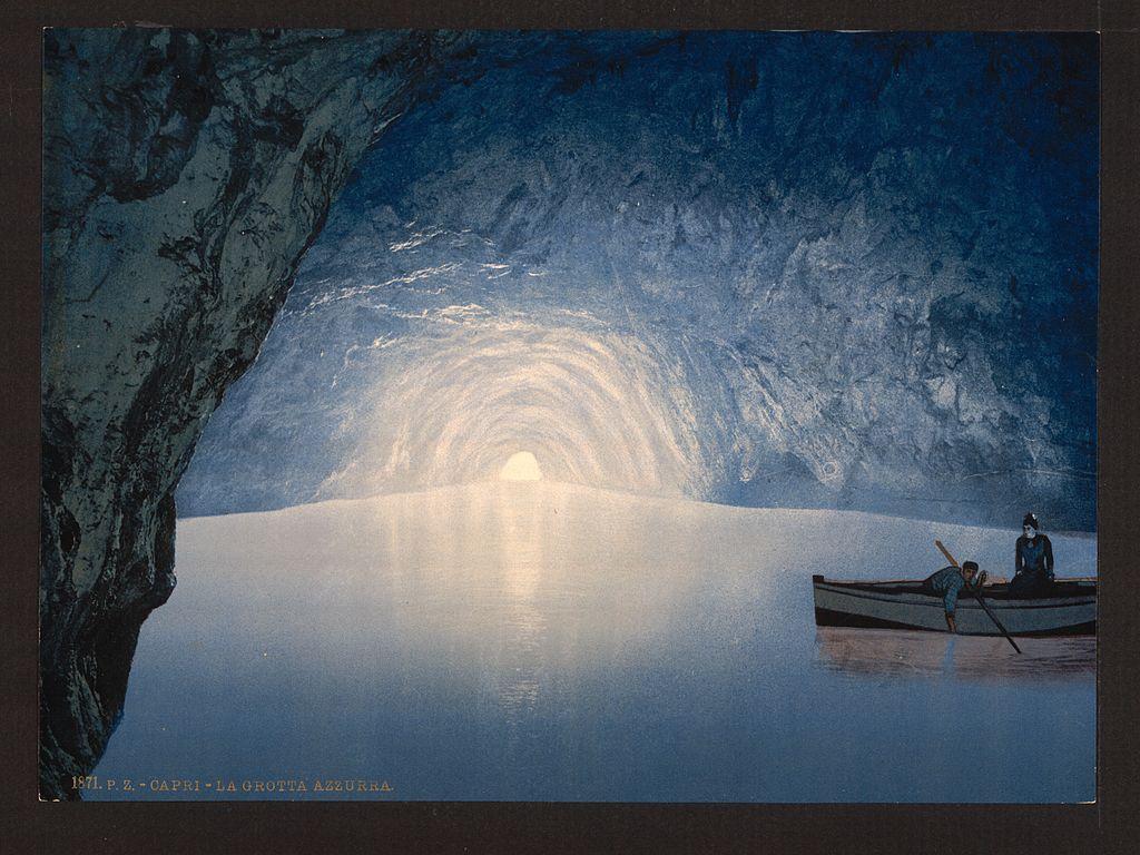 Illustration de la grotte bleu à Capri. Rien à changer depuis sa découverte sauf le prix de la visite : 13 euros.