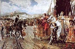 The Capitulation of Granada by F. Padilla: Boabdil before Ferdinand and Isabella.