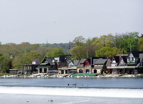 Philadelphia's iconic Boathouse Row, Home of the Schuylkill Navy Boathouse Row-wide.JPG