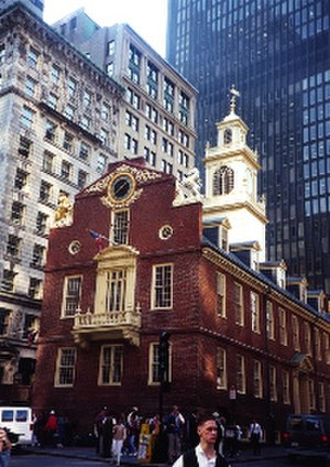 History of Boston - The 18th-century Old State House in Boston is surrounded by tall buildings of the 19th and 20th centuries.